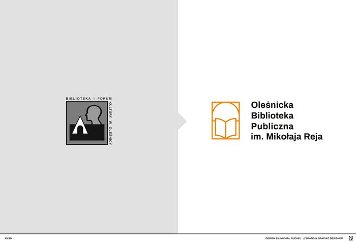 Grafika przestawiające stare logo Biblioteki i Forum Kultury w Oleśnicy i nowe logo Biblioteki