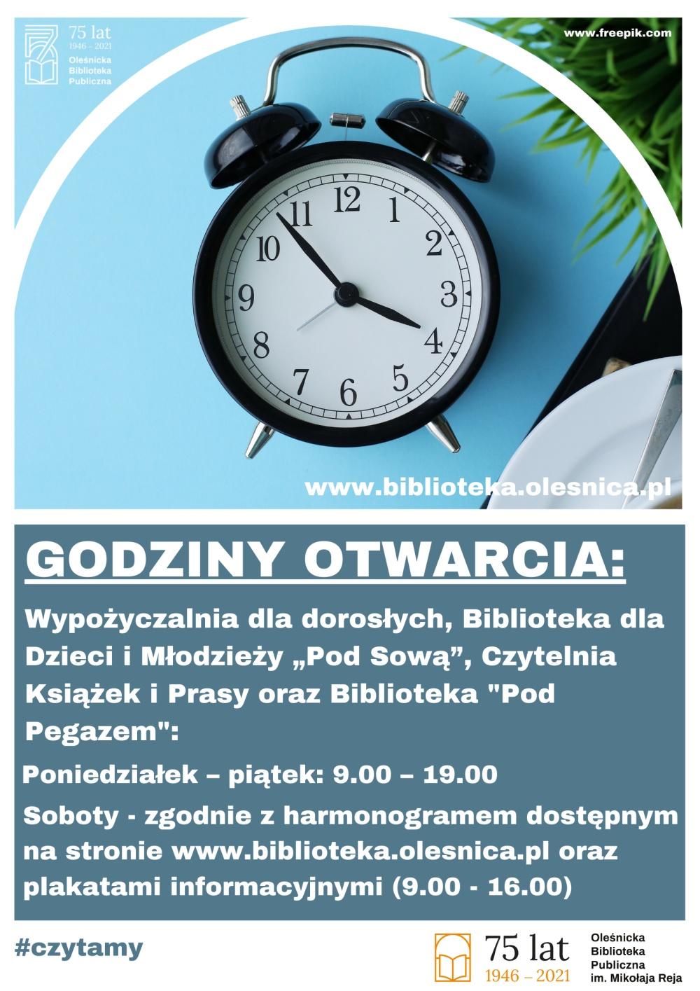 Plakat informujący o nowych godzinach pracy od 01.09.2021!