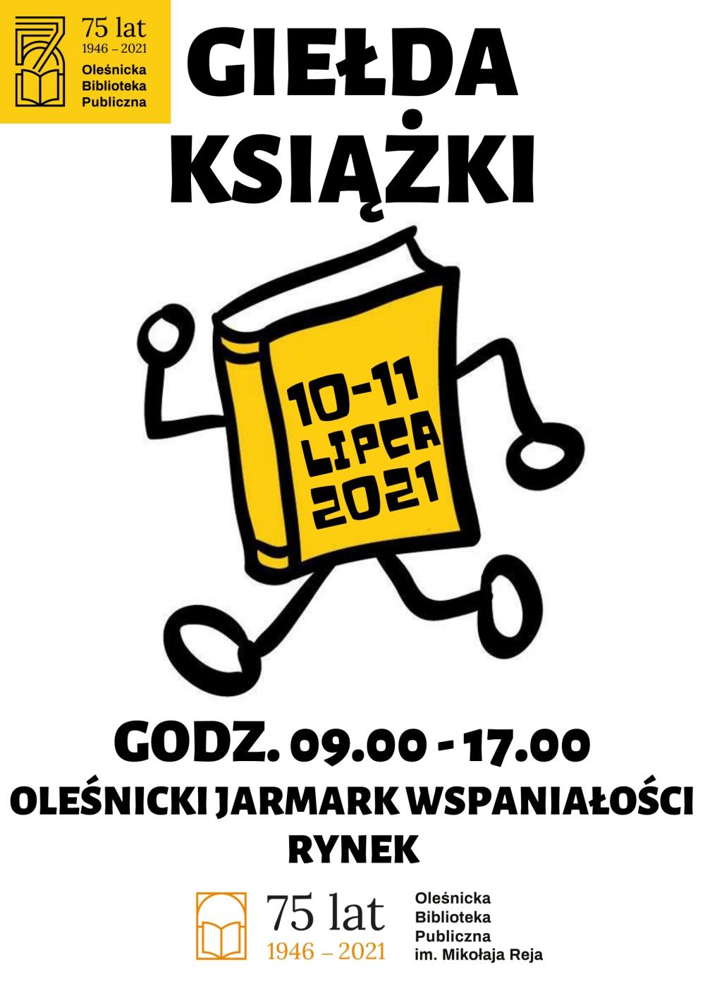 Plakat informujący o lipcowej Giełdzie Książki na rynku w Oleśnicy