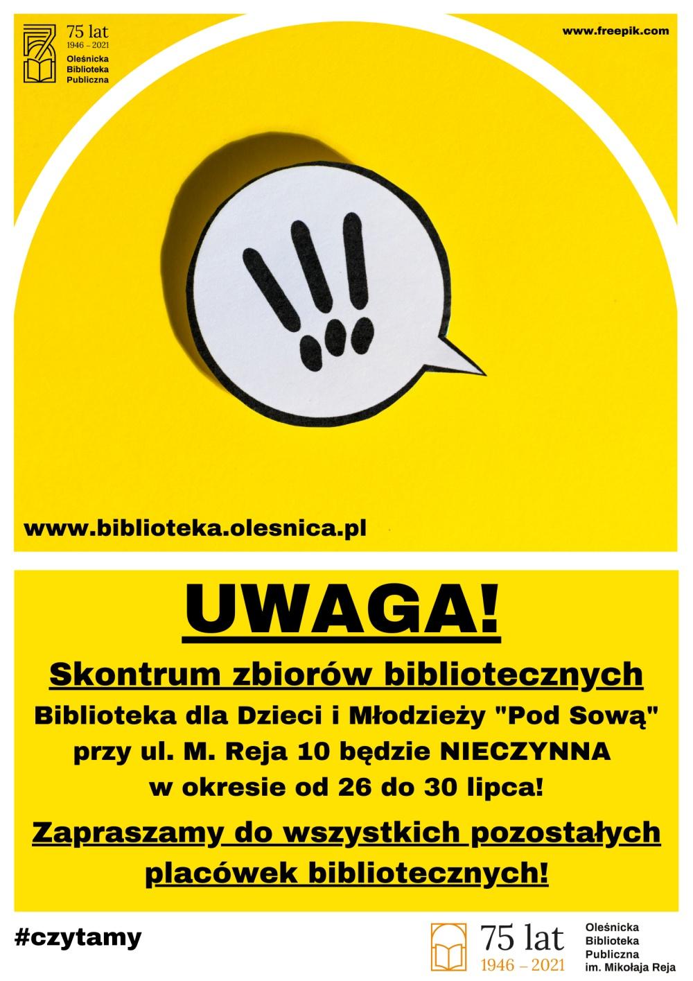Plakat informujący o inwentaryzacji zbiorów w Bibliotece