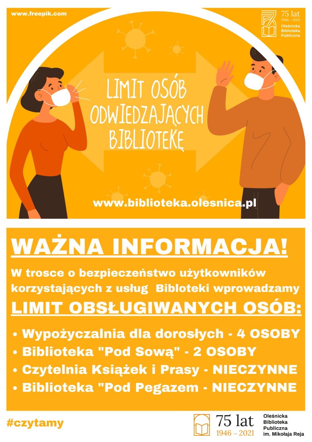 Informacja o limitach w obsłudze osób w bibliotece od 20.03.2021 do odwołania