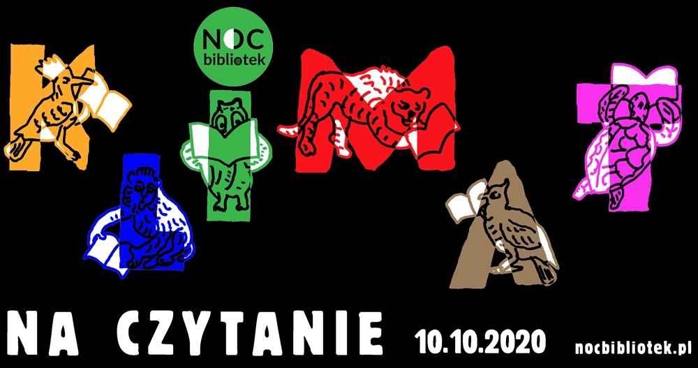 Baner promujący NOC BIBLIOTEK z hasłem