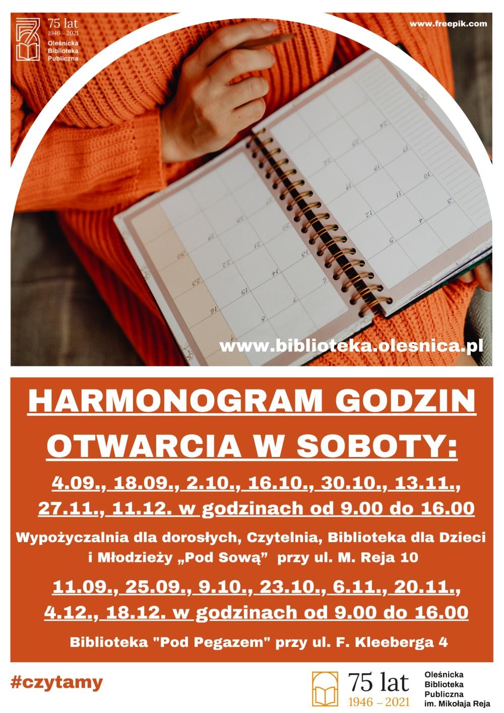 Harmonogram dyżurów w soboty od września do grudnia 2021 roku