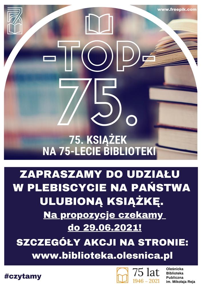 Plakat promujący plebiscyt TOP 75.