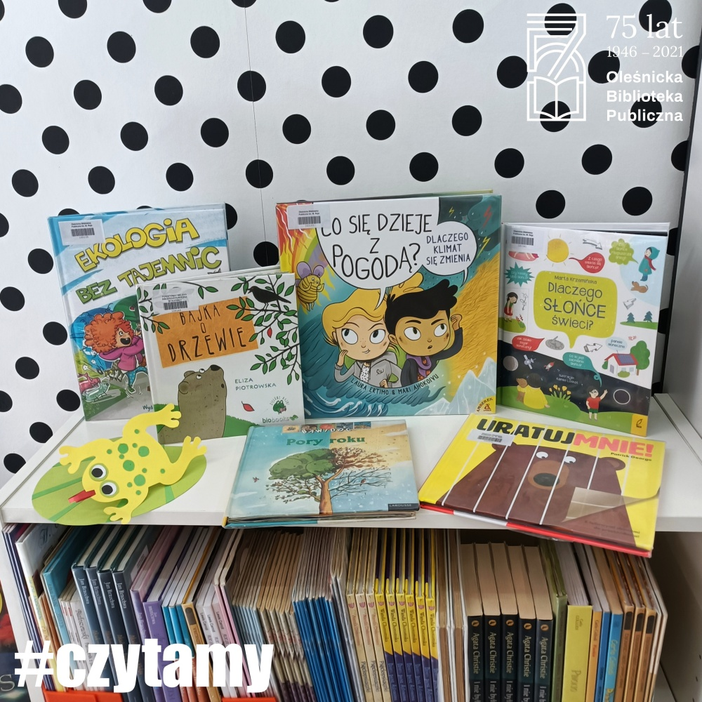 Okładki książek o tematach proekologicznych dostępne w Bibliotece dla Dzieci i Młodzieży