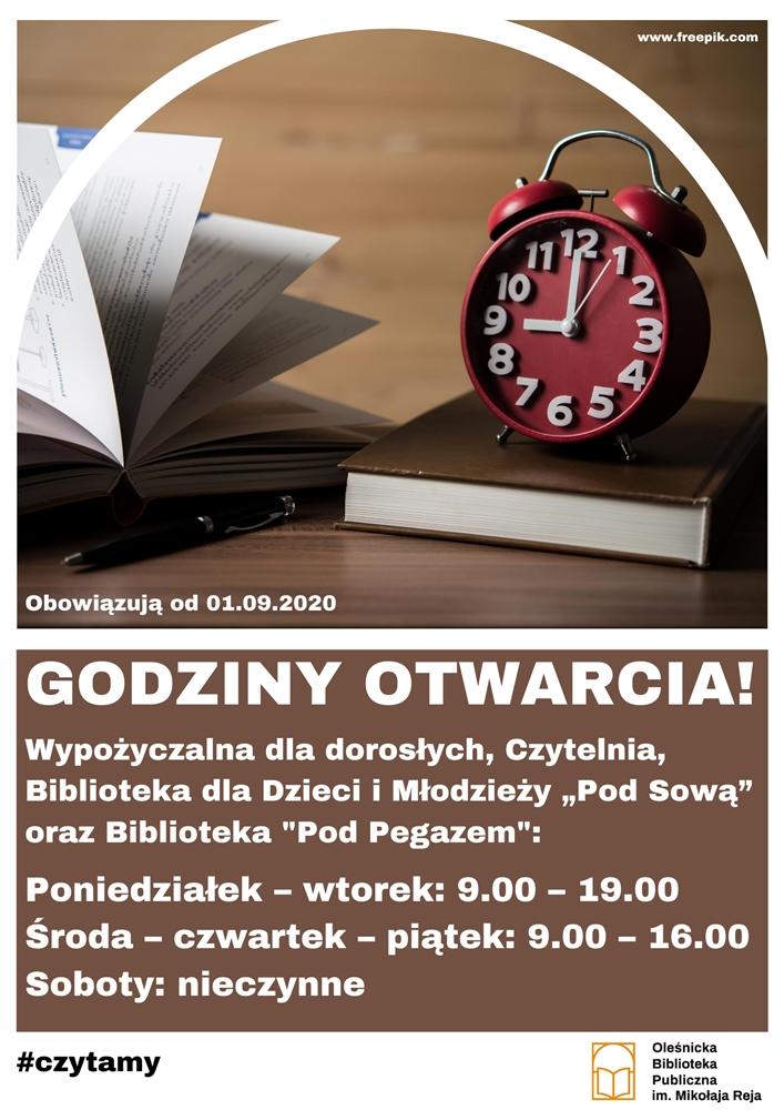Plakat informujący o godzinach otwarcia Biblioteki od 01.09.2020