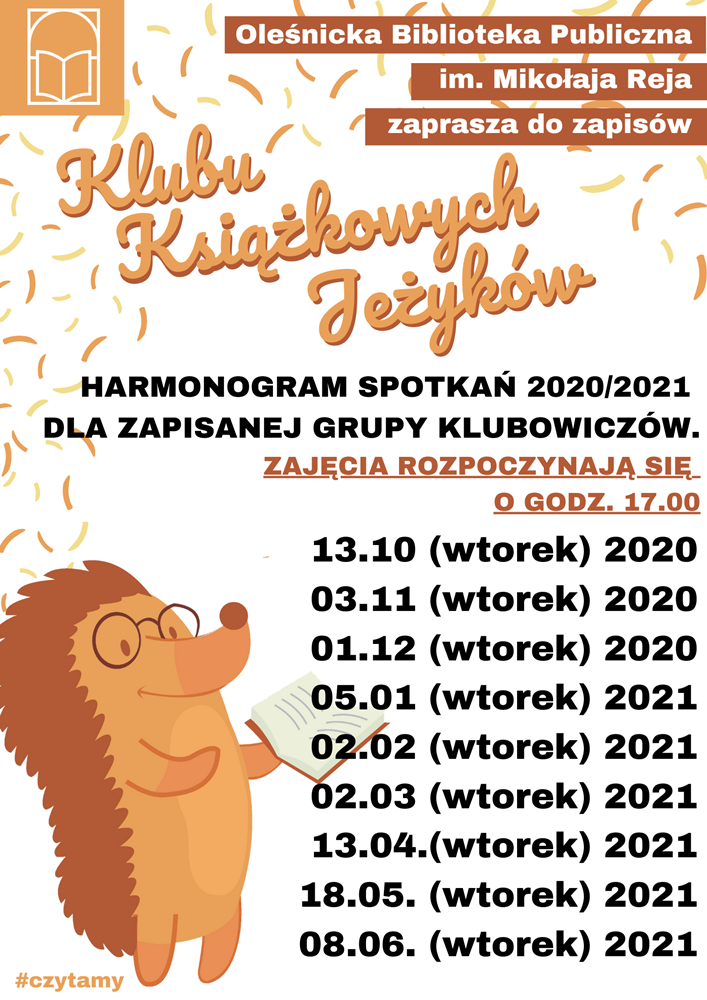 Plakat z harmonogramem zajęć Klubu Książkowych Jeżyków