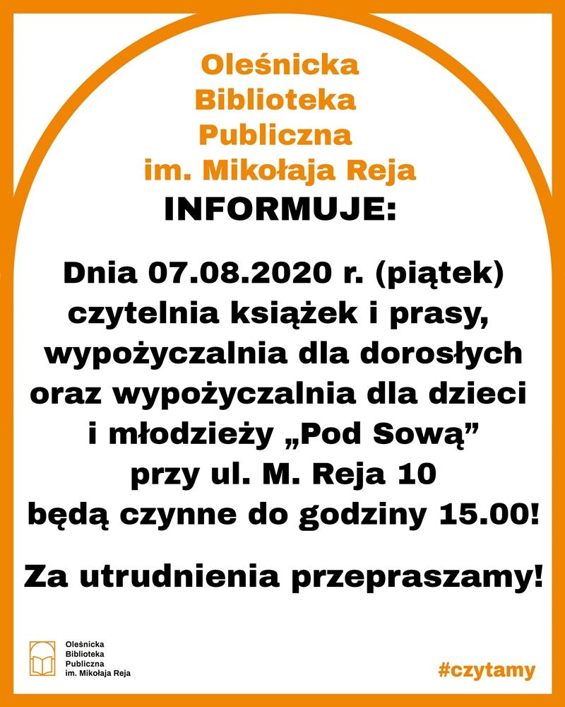 Komunikat o godzinie otwarcia czytelni, wypożyczalni dla dorosłych i wypozyczalni dla dzieci i młodzieży