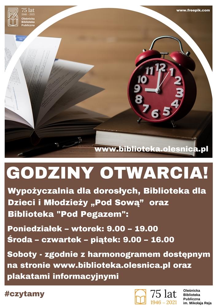 Godziny pracy biblioteki obowiązujące od 14.04.2021 do odwołania