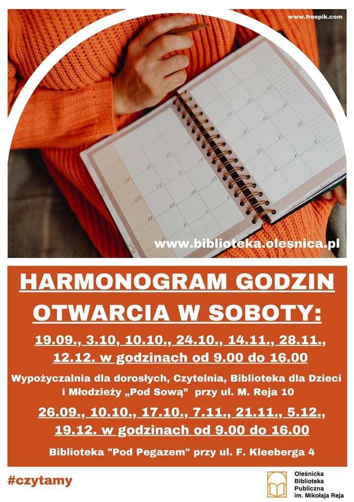 Plakat informujący o pracy Biblioteki w soboty do końca 2020 r.
