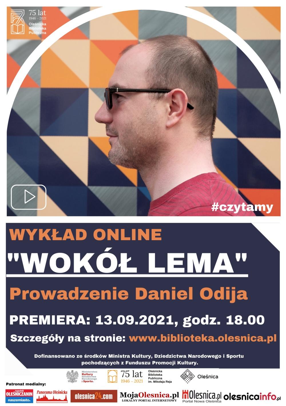 Plakat promujący wykład online