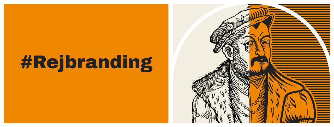 Grafika promująca zmiane logo Biblioteki przedstawiająca portret Mikołaja Reja i hasło #Rejbranding